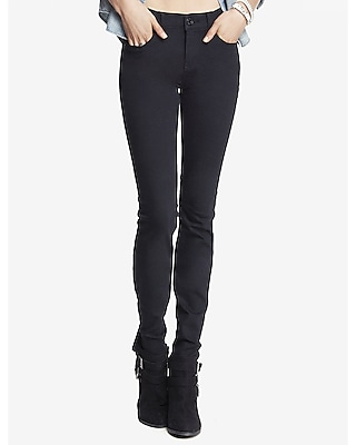 black mid rise stretch skinny jeans