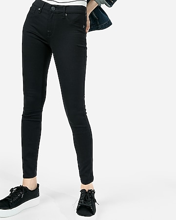 black mid rise stretch+ jean leggings