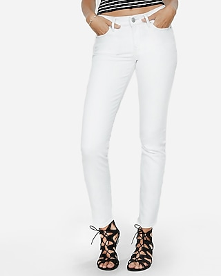 Express Womens White Mid Rise Stretch Skinny Jeans White 16 Long