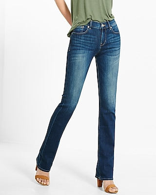 petite mid rise dark stretch barely boot jean