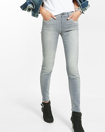 Mid Rise Gray Super Skinny Jeans | Express