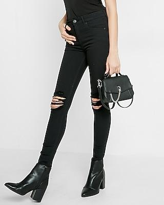 Womens black skinny jeans ripped knees