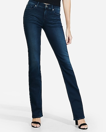 dark mid rise stretch+supersoft barely boot jeans
