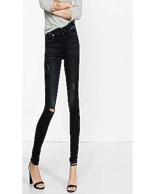 Distressed Black Mid Rise Super Soft Jean Legging | Express