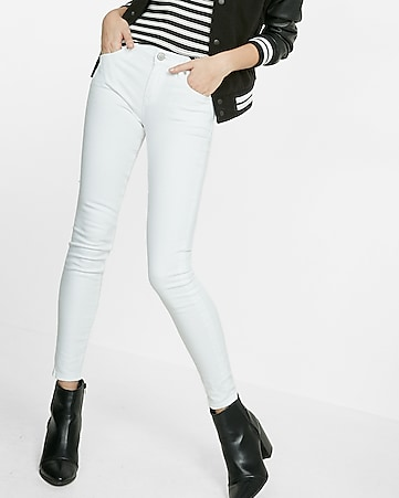 white mid rise stretch jean legging