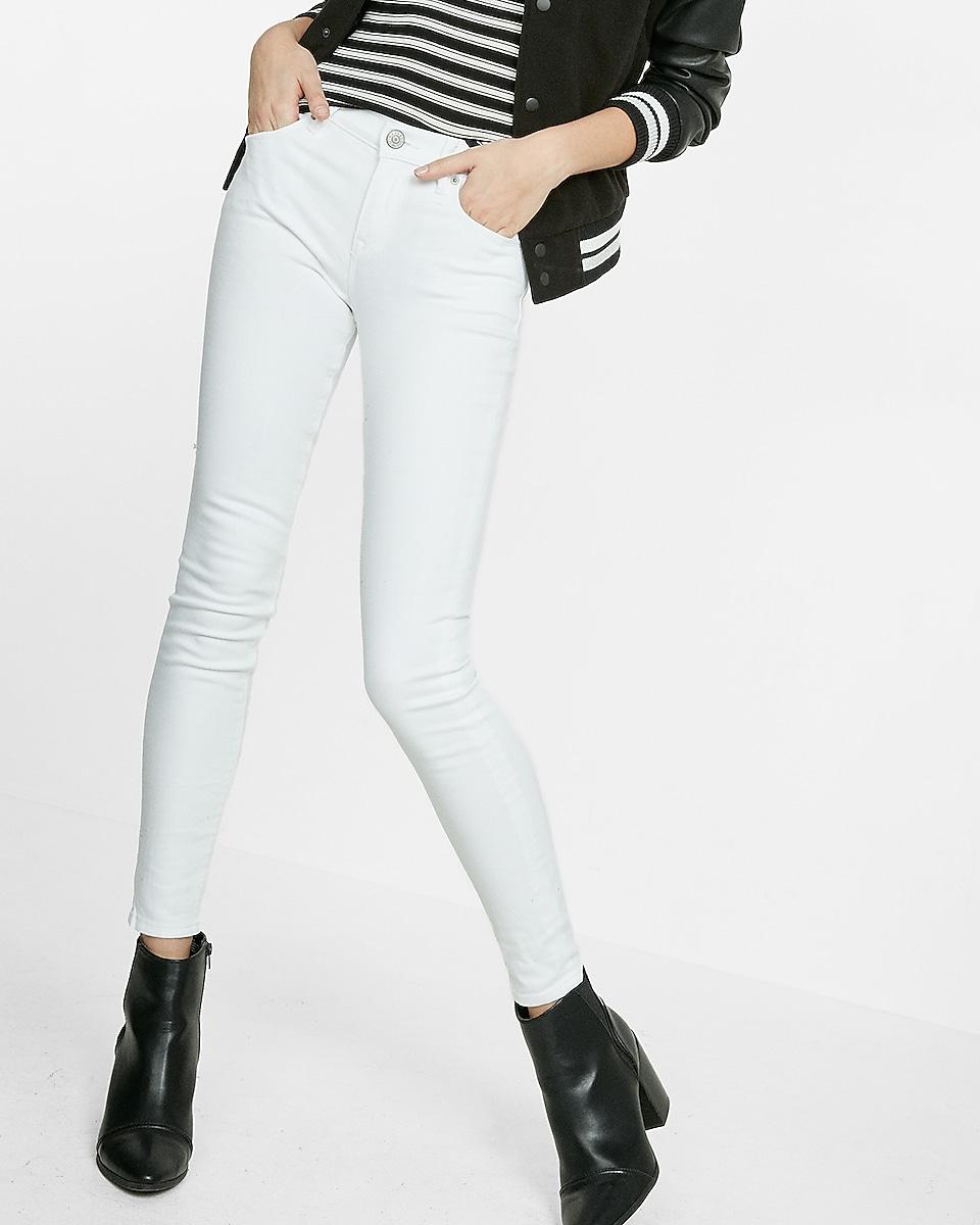 white mid rise jean legging