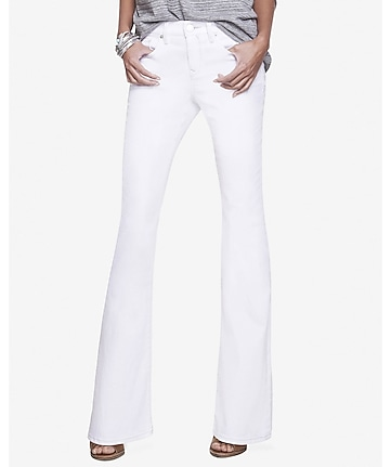 White Mid Rise Slim Flare Jean | Express