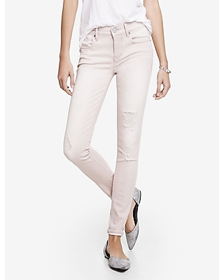 Pink Distressed Mid Rise Jean Legging | Express