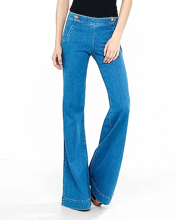 Mid Rise Wide Leg Two Button Trouser Jeans   Express