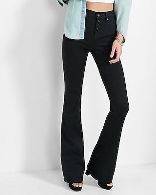 Black High Waisted Button Fly Stretch  Slim Flare Jeans | Express