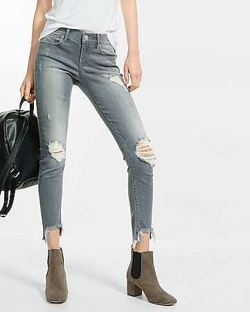 Gray Mid Rise Performance Stretch Jean Legging   Express
