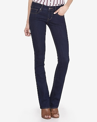 Express Womens Low Rise Stretch Barely Boot Jeans Blue 2 Long