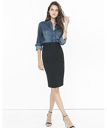 high yoke waist studio stretch midi pencil skirt