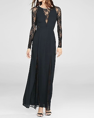 Black maxi dress lace sleeves