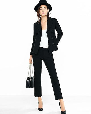 Double Breasted Cropped Stretch Knit Suit Express